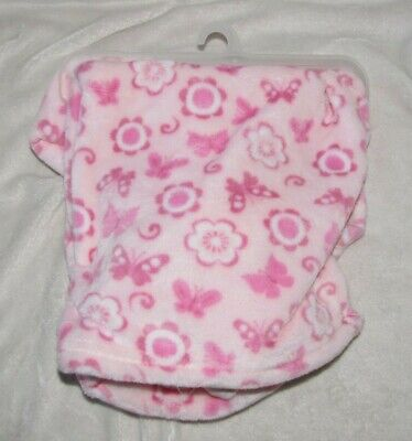 New Little Beginnings Butterflies Flowers Girls Pink Baby Blanket Gift SO SOFT!