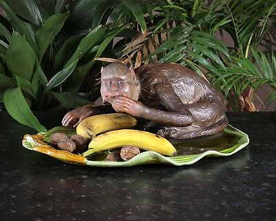 Antique Majolica Dish with Monkey by Bretby Art Pottery c.1890.