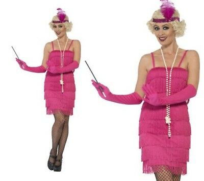 1920s Flapper Costume Pink 20s Gatsby Fancy Dress Outfit Sizes 8-26