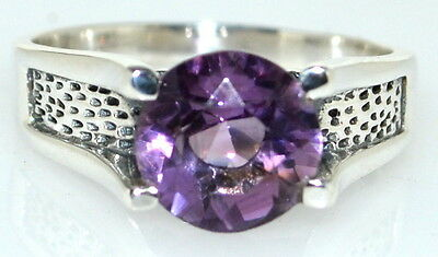 Sterling Silver Amethyst Mens Ring, 925 Band, Solitaire Gents Sizes M,6 To 15,Z5