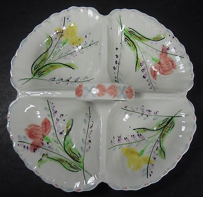 BLUE RIDGE SOUTHERN potteries IRIS pattern 4-Part Handled Relish Dish @ 9""