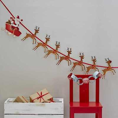 Santa Sleigh & His Reindeer Christmas Bunting Garland Party Hanging Decoration
