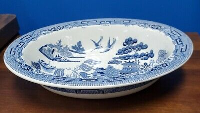 WEDGWOOD china WILLOW BLUE pattern Oval Vegetable Serving Bowl @ 9-3/4""