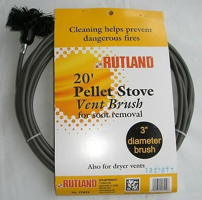 RUTLAND 20' Pellet Vent/Dryer Vent Brush with Handle NEW! FREE USA SHIP! #17419
