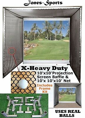 10' x10' Golf Impact Projection Screen Baffle &10'x10'x10' Net Frame Is Included