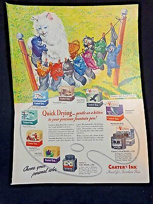 CARTERS INK for Fountain Pens Magazine Ad Print 1943 WWII Quick Drying Gentle