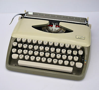 1950s Adler Tippa Vintage Portable Typewriter in a Carry Case Grey Office Manual