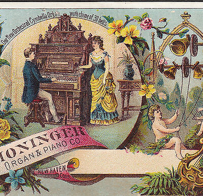 B Shoninger Piano & Cymbella Organ Bell New Haven CT Cherub Advertising Card