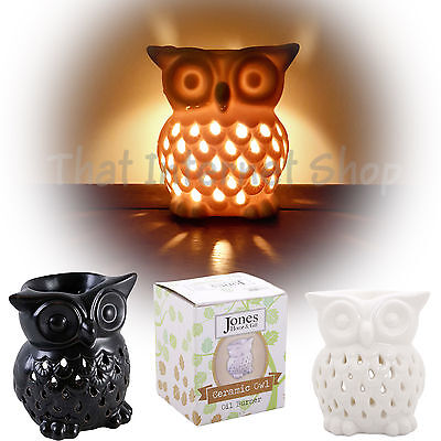 Cute Ceramic Owl Oil Burner Essential Aromatherapy Home Fragrance Black White