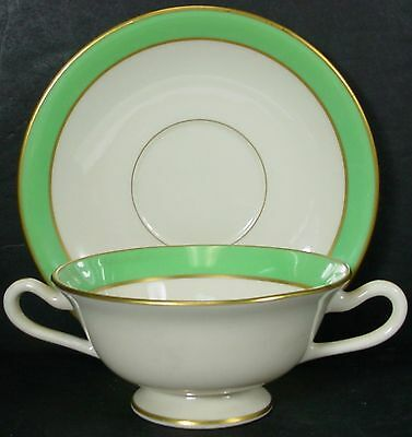 LENOX china LETTUCE GREEN H-54-E CREAM SOUP or BOUILLON BOWL & SAUCER Set