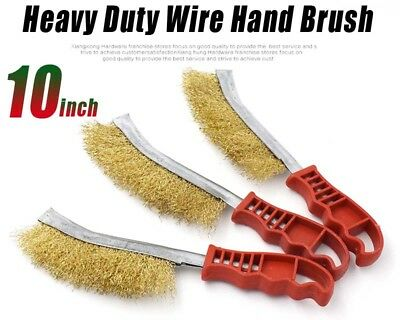 2X Brass Plated Crimped Wire Rust Removal Cleaning Hand / Spid Brush 2X Pack