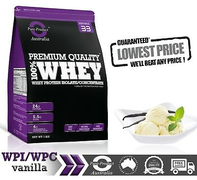 1Kg Whey Protein Isolate / Concentrate Vanilla  Wpi Wpc High Quality Powder
