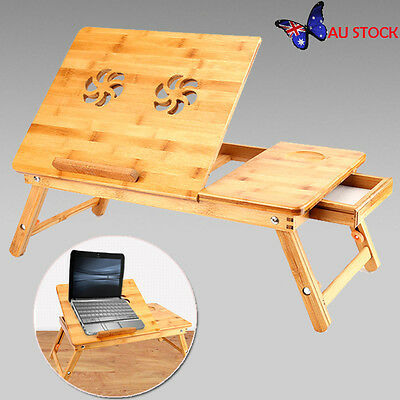 Portable Folding Bamboo Computer Desk Laptop Notebook Table Stand Bed Tray AU