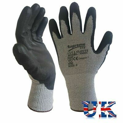 12 Pairs Anti Cut Resistant Level 5 PU Nylon Fiber Work Gloves Safety Protection