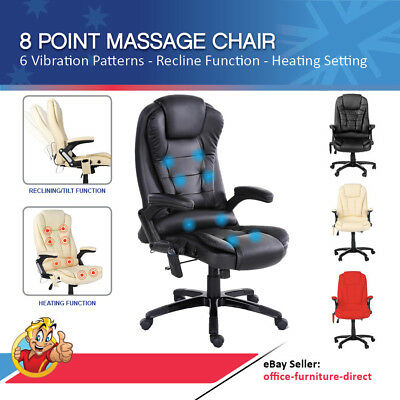 Massage Chair 8 Point 6 Vibration Settings PU Leather Heated Function Recliner