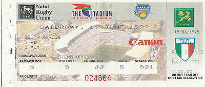 South Africa v Italy - 2nd Test 19 Jun 1999 Durban RUGBY TICKET