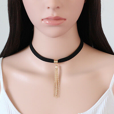 Fashion Black Velvet Charm Pendant Choker Chunky Chain Collar Necklace Jewelry