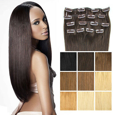 Full Head Clip in Remy Hair Extensions 100% Real Human Hair 16-22inch