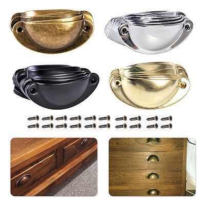 10x Retro Antique Vintage Kitchen Shell Door Cabinet Pull Drawer Handle Cup Knob