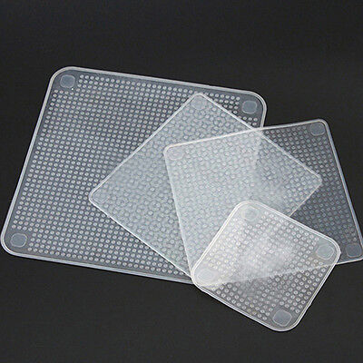 Kitchen Tool Clear Square Reusable Silicone Food Wrapper Seal Cover Film Retro