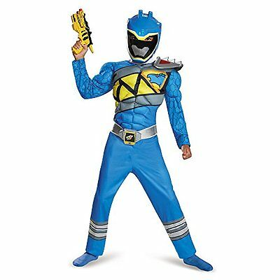 Disguise Blue Ranger Dino Charge Classic Muscle Costume, Large 10-12