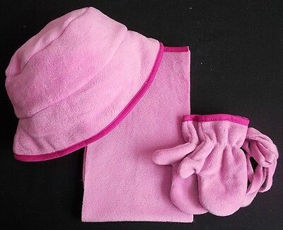 baby hat scarf mitts girl pink fleece 6-12 month bnwts