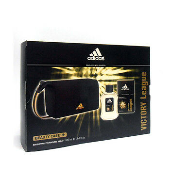 Cofanetto uomo ADIDAS VICTORY LEAGUE profumo edt 100ml + beauty case NUOVO