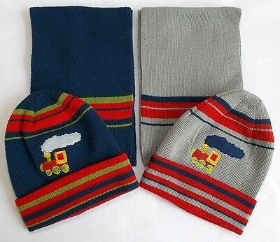 baby boys hat scarf set navy blue grey 6-18 month bnwts knitted train