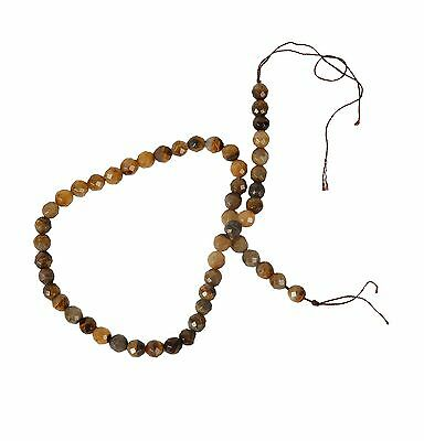 String of 8mm Round Faceted Tiger Eye Beads for Jewellery Making (T1S)