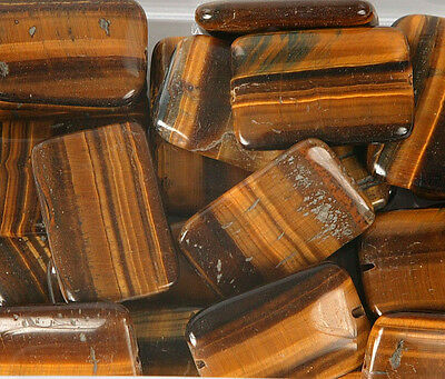Pack of 5 Large Rectangular Tiger Eye Beads for Jewellery Making (T2AL)