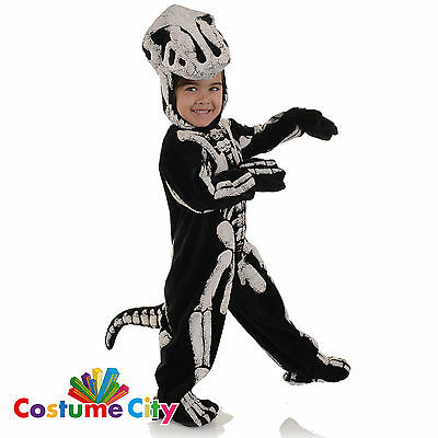 Childrens Toddlers Dinosaur T-Rex Skeleton Halloween Fancy Dress Party Costume