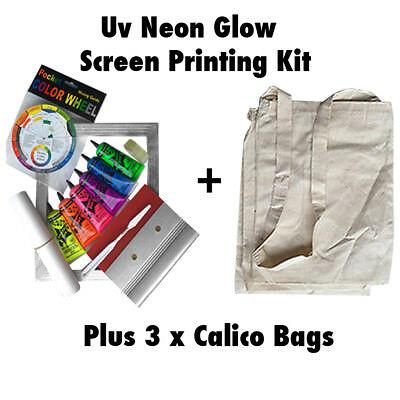 UV Neon Fabric Screen Printing Kit  Plus 3 x Calico Bags Neon Screen Print ink
