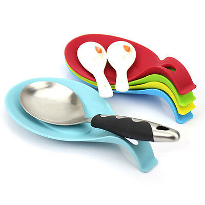 Silicone Spoon Rest Heat Resistant Kitchen Utensil Spatula Holder Cooking