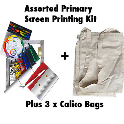 Primary Screen Printing Kit Fabric Screen Print Kit + 3 Calico Bags Permaset Cmp