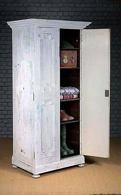 Antique Narrow Edwardian Cupboard with Distressed Paintwork c.1905.
