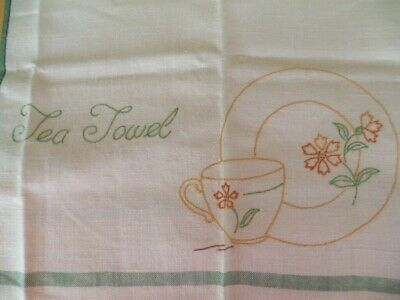 Antique Vintage old Irish Linen cloth embroidered Tea Towel with cup and saucer