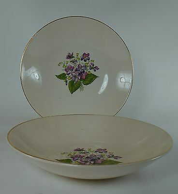 KNOWLES china WOOD VIOLETS pattern Soup or Salad Bowl - Set of Two (2) @ 7-5/8""