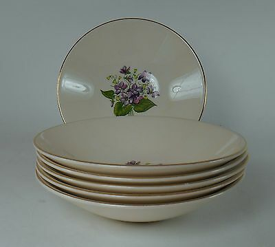 KNOWLES china WOOD VIOLETS pattern Fruit Dessert Bowl - Set of Six (6) @ 5-1/2""