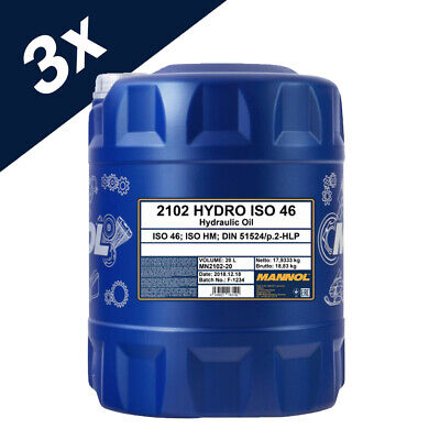 3x20L Drum ISO 46 Hydraulic Fluid Oil 60 Litre - German Hi Spec DIN 51524