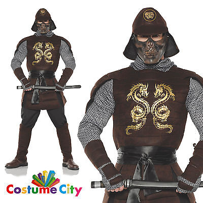 Adults Mens Armoured Samurai Warrior Halloween Fancy Dress Party Costume