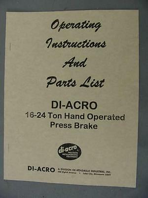 DI-ACRO 16-24 Press Brake Instructions & Parts Manual