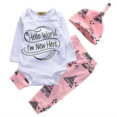 Newborn Baby Boy Girl Long Sleeve Romper +Long Pant Hat 3PCS Outfits Set Clothes