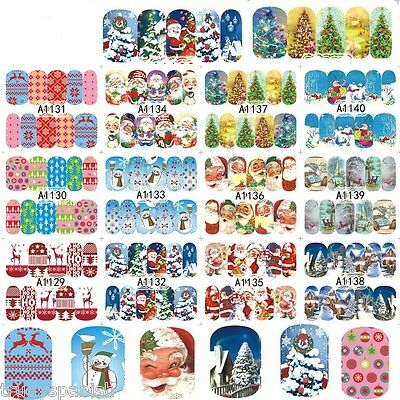 Full Wrap Water Transfers Nail Art Stickers Decals Christmas Snowflakes Santa