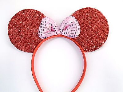 MINNIE MOUSE EARS Headband Red Sparkle Shimmer -- Pink Sequin Bow Mickey
