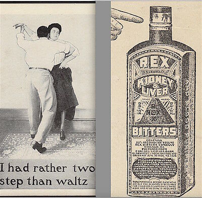 Rex Bitters Blood Cure Kidney Liver bottle Two-Step Dance Waltz Advertising Card
