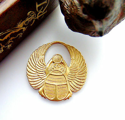 BRASS Large Egyptian Round Winged SCARAB Beetle Stamping (C-401) `