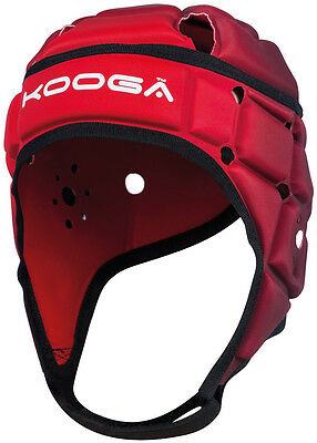 Kooga Combat Headguard Rugby Sports Head Protection Scrum Cap Helmet Red/Black