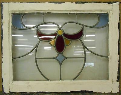 """MID SIZED OLD ENGLISH LEADED STAINED GLASS WINDOW Floral Swag 23.75"""" x 18.25"""""""