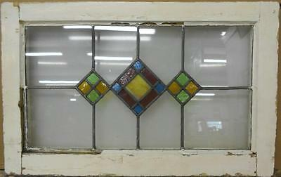 "MID SIZED OLD ENGLISH LEADED STAINED GLASS WINDOW Beautiful Geo 26.75"" x 17"""
