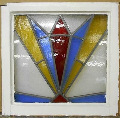 "OLD ENGLISH LEADED STAINED GLASS WINDOW Bright Color Burst  21.5"" x 20.5"""